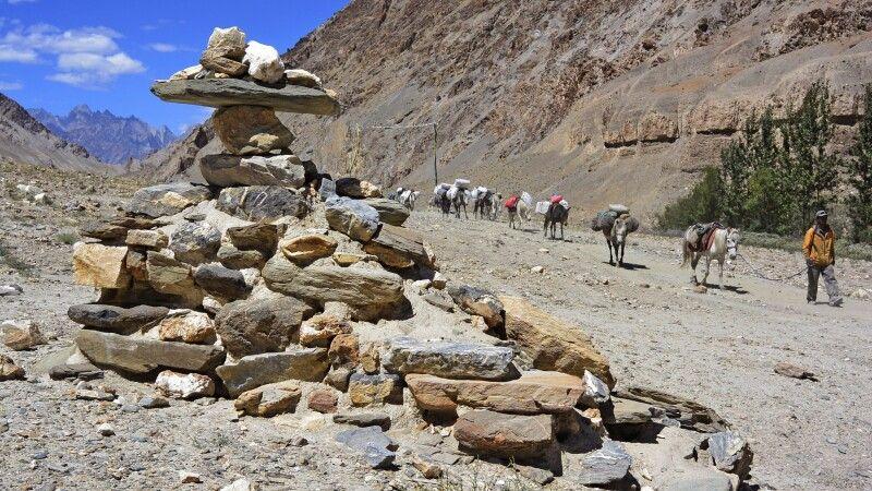 Markha Valley Trek, Etappe Markha-Thachungtse, Begleitmannschaft mit Pferden © Diamir