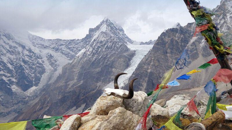 Blick vom Tsergo Ri auf den Kimshung (6760m). © Diamir