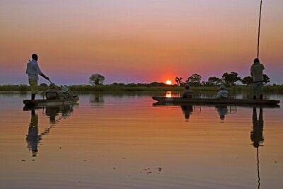 Okavango-Delta: Sonnenuntergang im Delta