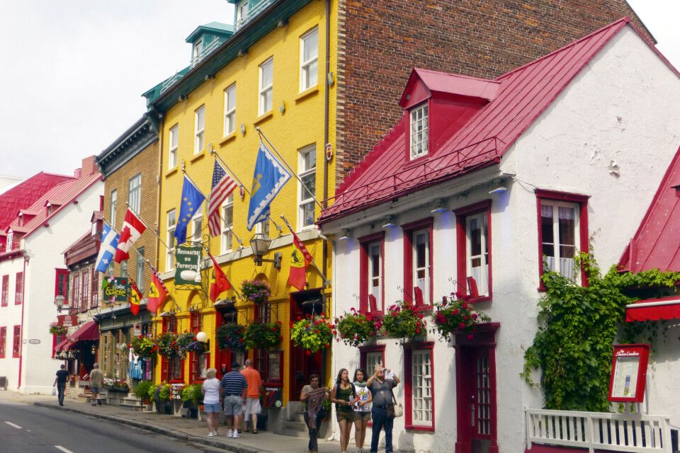 Bunte Häuser in Quebec City