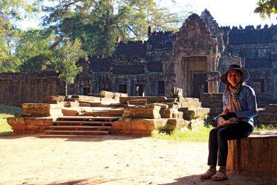 Stille im Tempelareal von Angkor am Morgen