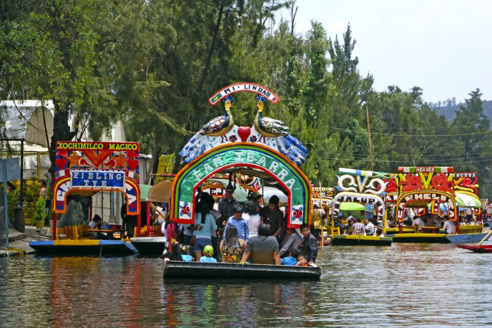 Farbenfrohe Boote in den schwimmenden Gärten von Xochimilco, Mexiko-Stadt